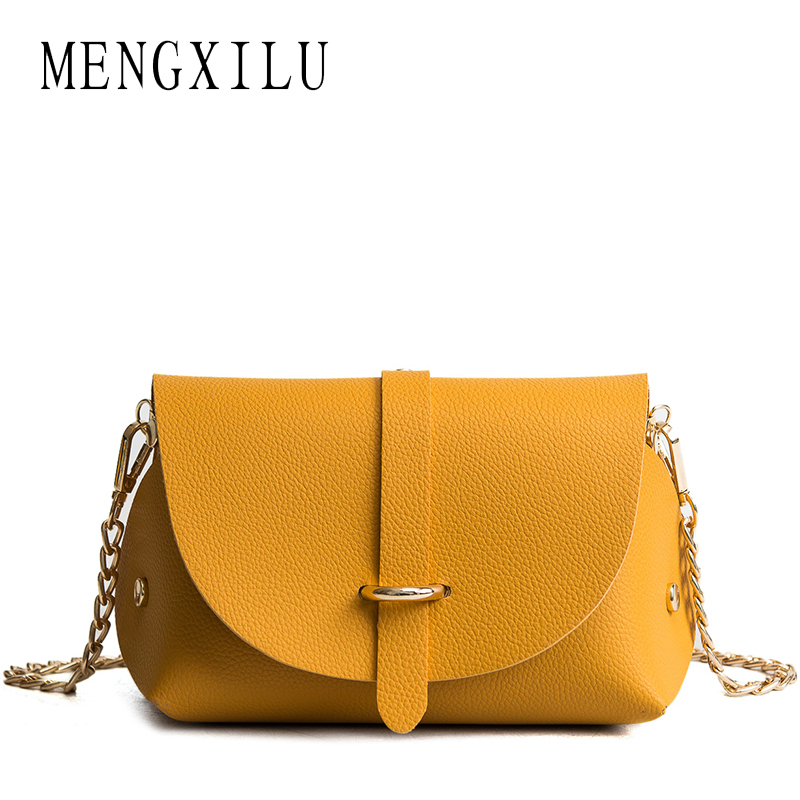 MENGXILU Fashion Chains Cross body Bags For Women Messenger Bag Ladies Shoulder Sac A Main 2018 Designer High Qulity PU Leather chains belt ladies bags for women new design fashion women flap cross body bags korean style spring shoulder bag