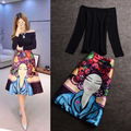 Pairs Runway 2 Piece Set Women Cotton Clothes 2017 New Black Shirt Tops + Print Face Skirt Women Crochet Cropped Top Suit