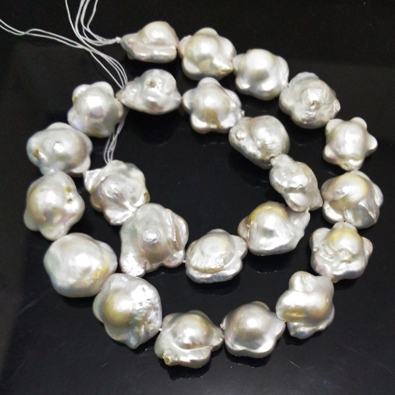 16 inches 16-17mm White Flower Shaped Natural Nucleated Baroque Pearl Loose Strand for Necklace 16 inches 14x18mm natural white nucleated large baroque pearls loose strand