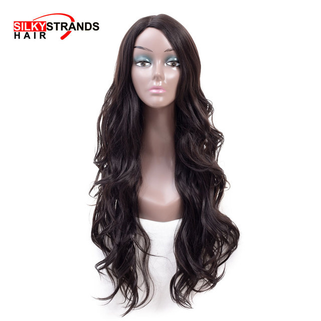 Long Wavy Female Synthetic Wig Silky Starnds African American Good Quality  Realistic Womens Wig 8b3138ba53