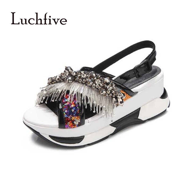 New Rhinestone string bead Sequins women sandals open toe ladies shoes fashion ankle buckle strap platform sandalia feminina summer rhinestone sequins women sandals fashion string bead chunky heels leisure open toe outwear black beige sandalia feminina