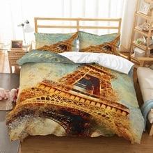 3D Print Collapsed Tower Bedding Set Retro Paris Duvet Cover 3PCS Microfiber Bed Linen AU/EU/US Size Pillowcase