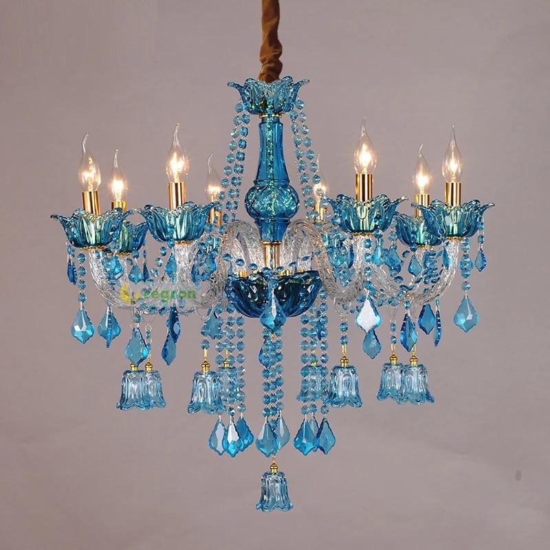 italien vintage blau kristall kronleuchter led cafe bar beleuchtung leuchte esszimmer hochzeit leuchte restaurant hangen lampe wohnzimmer lampe innen