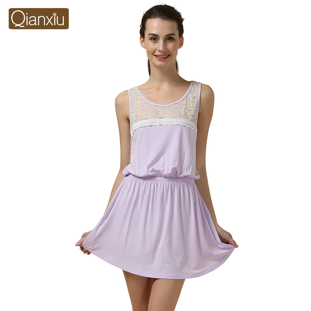 Qianxiu   Nightgown   for Girl Knitted Modal   Nightgown   Sexy Lace Homedress Knee-length   Sleepshirts   for women
