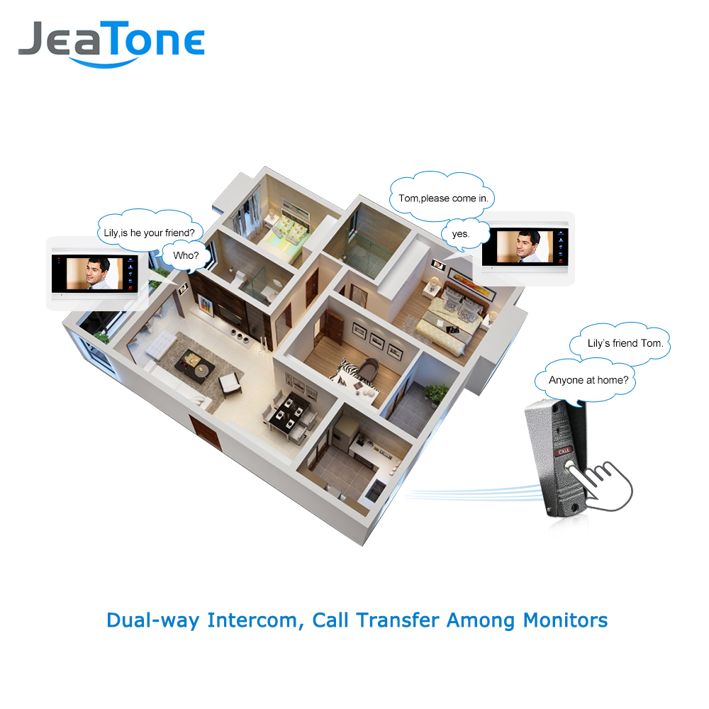 Купить с кэшбэком JeaTone 4 Wired Video Door Phone Intercom Doorbell Home Security System Door Speaker Call Panel+7 inch Monitor +1200TVL Camera