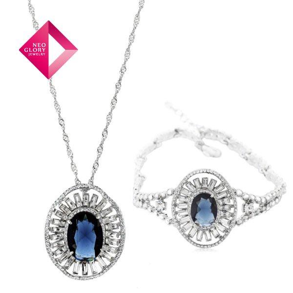 Neoglory Jewelry-Set Zircon SQC Earrings Necklace Rhinestone Wholesale