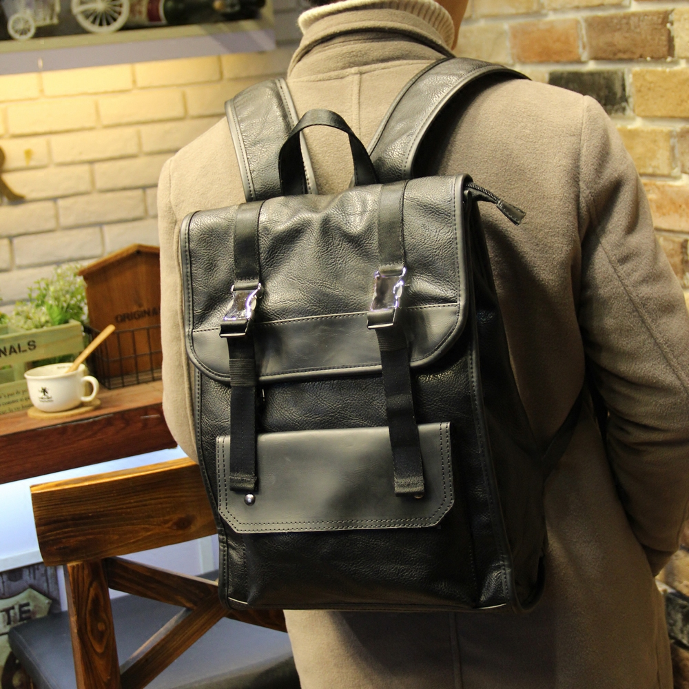 ФОТО Xiao.p New Arrival 2017 Male Functional bags Fashion Men laptop backpack PU Leather backpack big capacity Men bags XP785