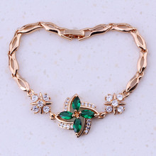 Impressive Green Imitation Emerald & Cubic Zircon Yellow Gold Color Cheap Charm Bracelets For Women Free Gift Box I0308