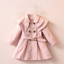 girls trench coat children coat 2016 autumn spring Long outwear kids jackets casual style pink khaki