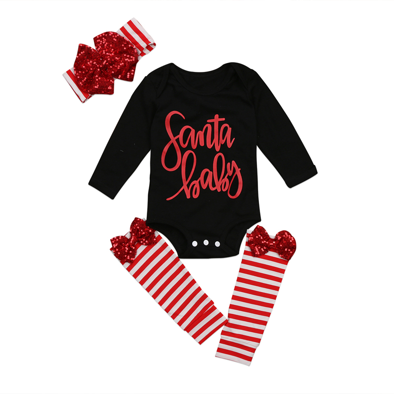 Christmas Kid Baby Girl Clothes Long Sleeve Romper Jumpsuit Leggings Headband Outfits Set