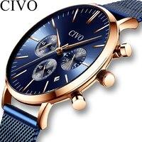 CIVO Модные Бизнес наручные часы мужские s ультра тонкие водонепроницаемые стальные сетки хронограф кварцевые часы мужские часы Relogio Masculino