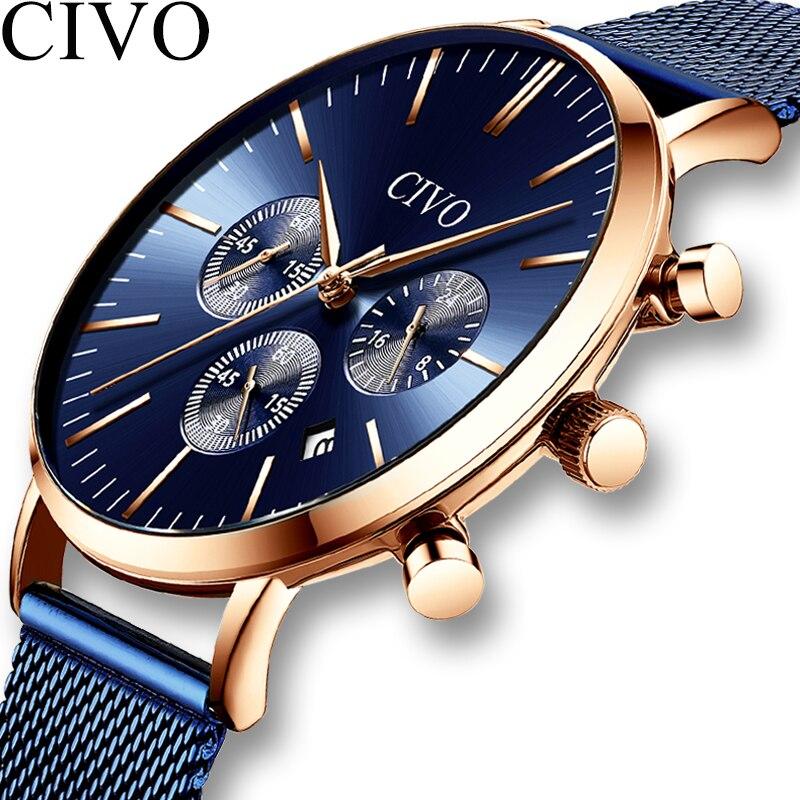 CIVO Fashion Business Wrist Watches Mens Ultra-thin Waterproof Steel Mesh Chronograph Quart Watches Men Clock Relogio Masculino