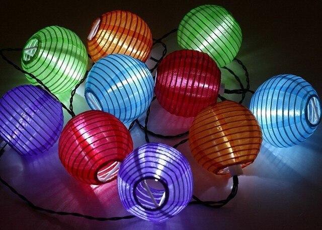 10 Mini Colorful Solar Ed Led Chinese Lantern String Light For Wedding Home Decoration