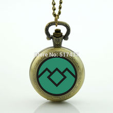 Green Twin Peaks Pocket Watch Necklace Mini Glass Locket Necklace Antique Pocket Watch Necklace