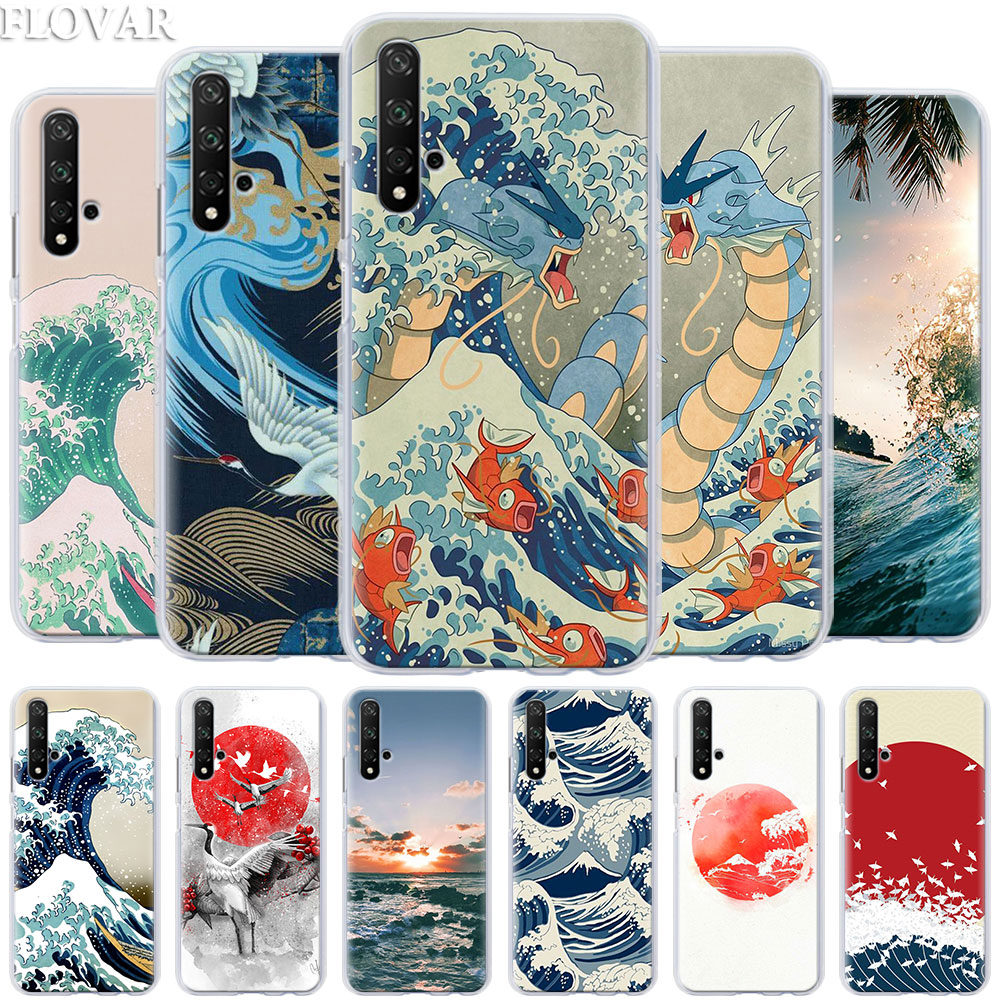 Wave Art Japanese Green Illust Phone Cases for Honor 20 Pro 9 10 Lite Y7 Y9 2019 8X 8A 8C 8S View 20 Cover Hard PC Case Coque