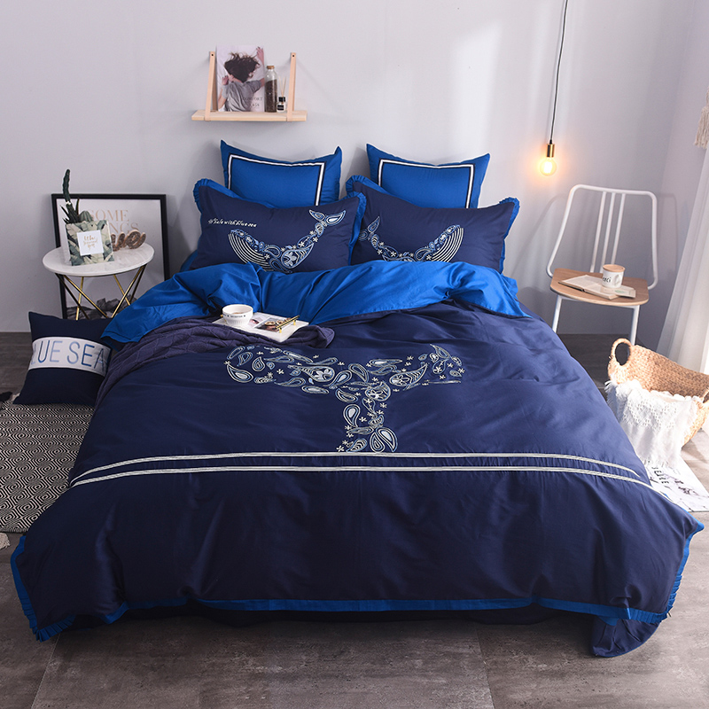 2018 New Luxury Egypt Cotton Blue Whale Bedding Set Embroidery Duvet Cover Set Bed Sheet Pillowcases Queen King size 4/6/7Pcs