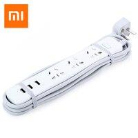 Xiaomi Tira Poder de Adaptação Inteligente de Carregamento Rápido de 3 Tomada de Extensão USB plugue 3 Tomada Padrão CN Plug com a UE EUA REINO UNIDO AU adaptador