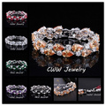 Classic My Mona Lisa Jewelry White Gold Plated Red Black Purple Big CZ Simulated Diamond Big Bracelets For Women CB125