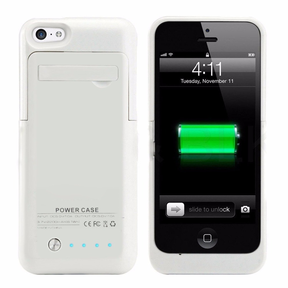 rechargeable iphone 5s case 2200mah external backup battery charger extended 1480