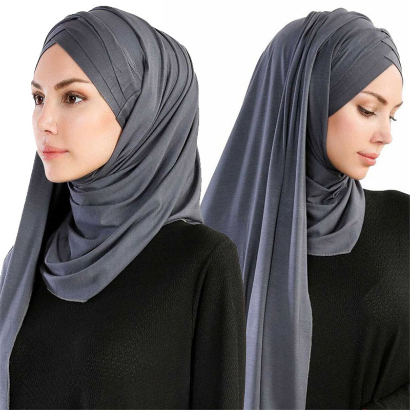 Women Muslim Solid Jersey Scarf Long Headscarf Cover up Hat Wrap Shawl Modesty Turban Cap Instant Underscarf Easy Ready to wear in Women 39 s Scarves from Apparel Accessories