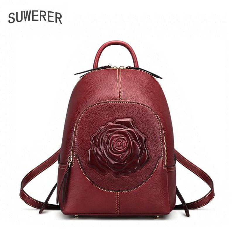 SUWERER New Genuine Leather Backpack Women Luxury Backpack Women Bags Rose Embossed Designer Bags Women Backpack Fashion Bag