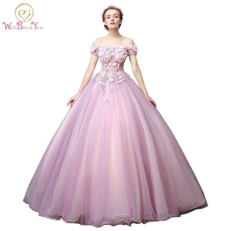 62d1d2b4902c164 Прогулка рядом с вами Сирень розовые платья Quinceanera с открытыми плечами vestidos  de 15 anos дебютантка бальное платье Цветы айва 2019