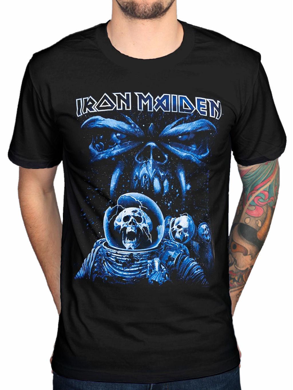 Shirt design blue cotton - 2017 Funny Iron Maiden Final Frontier Blue Album Spaceman T Shirt Fear Of The Dark Design Tops Custom Hipster Tees