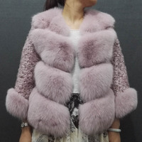 Women Real Fox Fur Coat Winter Warm 100% Genuine Fox Fur Jacket with Lam Sheep Fur Sleeves Outerwear Natural Blue Fox Fur Coat