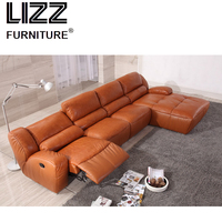L shape Functional home furniture Divani Modern Living room Furniture leather recliner sofa chair with chaise