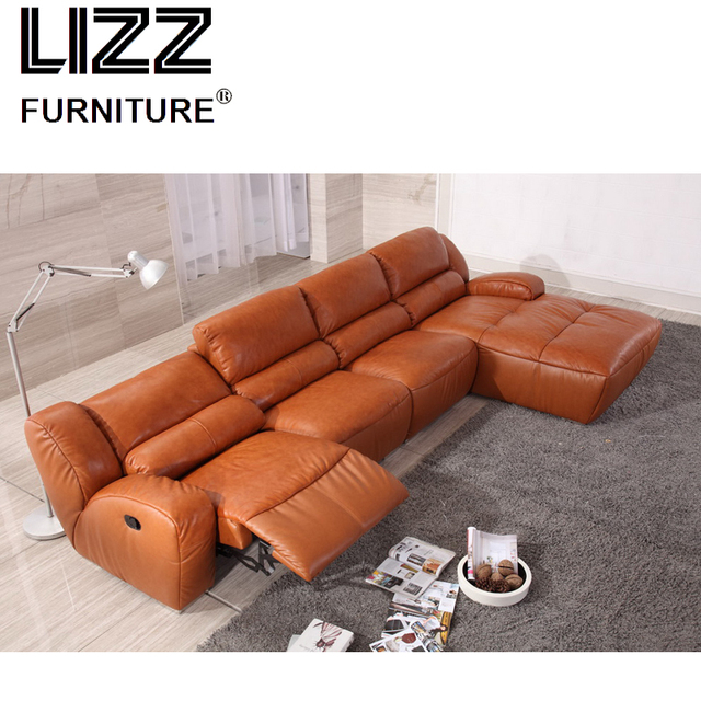 L Shape Functional Home Furniture Divani Modern Living Room Leather Recliner Sofa Chair With Chaise