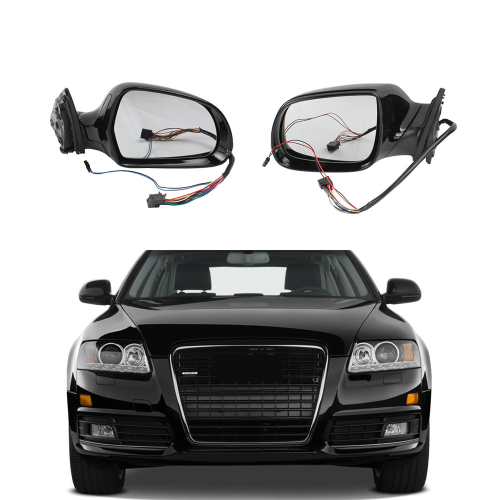 Black Left Right Heated Folding Mirror Glass Cover Assembly For Audi A6 S6  2009 2010 2011