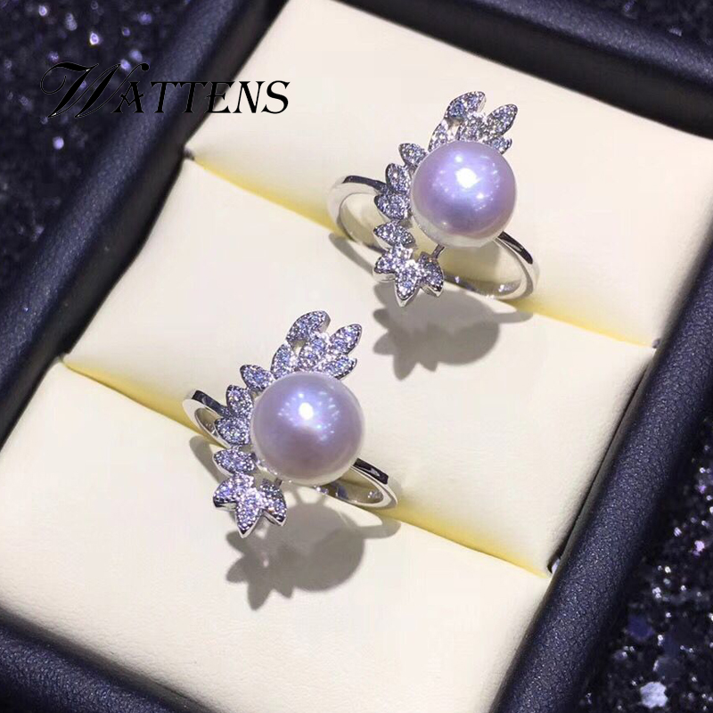 925 Sterling Silver Wedding Ring Natural Freshwater Pearl Ring Pearl Jewelry Leaves Rings With Jewelry Box Party Gift  Bohemia
