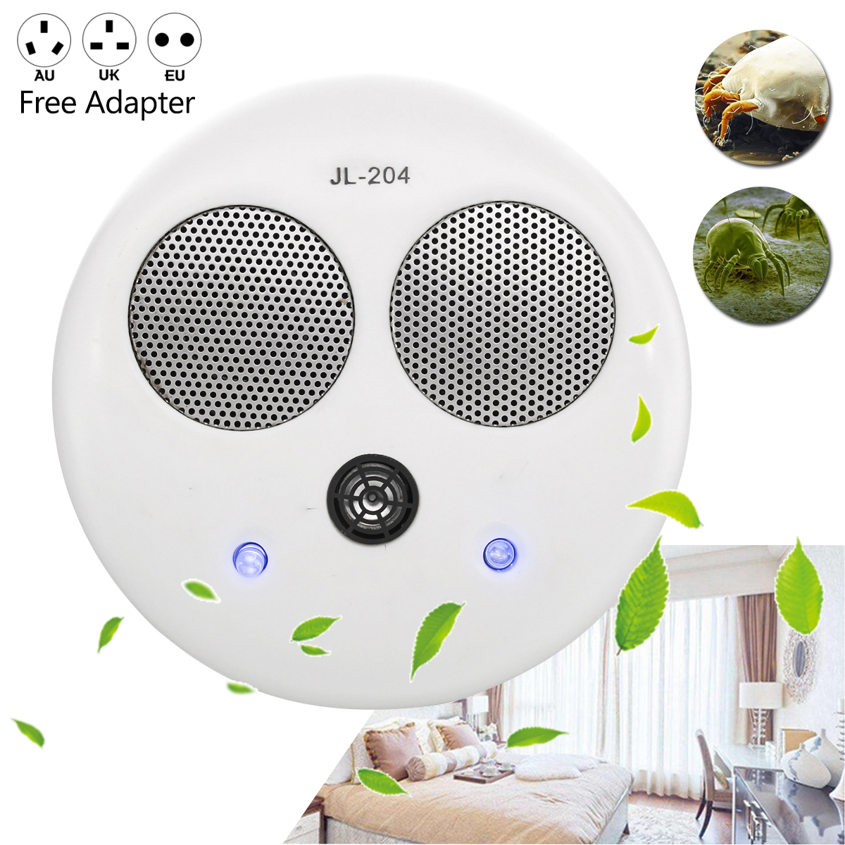 Mini Electronic Ultrasonic Cleaner Dust Mite Controller Cleaner Killer Physical Anti 80 Bed Mites Killing Device Coverage Home цена