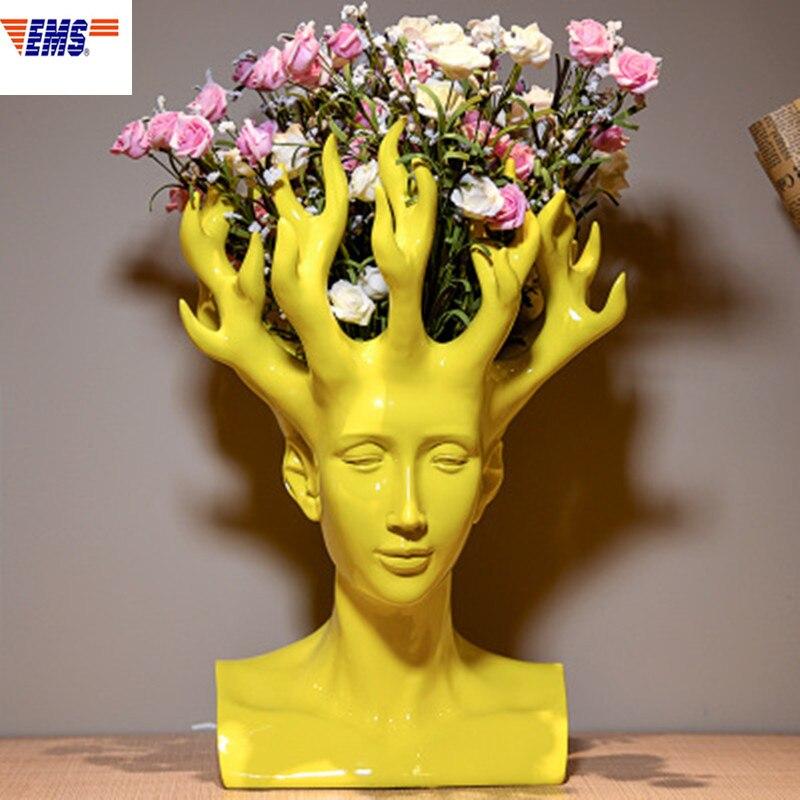 Créatif tête humaine fleur Vase film Figure décor à la maison Art concepteur fleur Arrangement Vase Table Vase X1923
