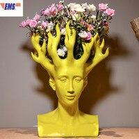 Creative Human Head Flower Vase Movie Figure Home Decor Art Designer Flower Arrangement Vase Table Vase X1923
