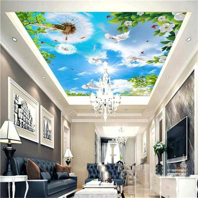 3d wallpaper custom size photo living room hang ceiling mural3d wallpaper custom size photo living room hang ceiling mural dandelion pigeon leaves painting non woven wallpaper for wall 3d
