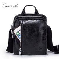 CONTACT S Men Bag 2017 Fashion Mens Shoulder Bags High Quality Genuine Leather Casual Messenger Bag