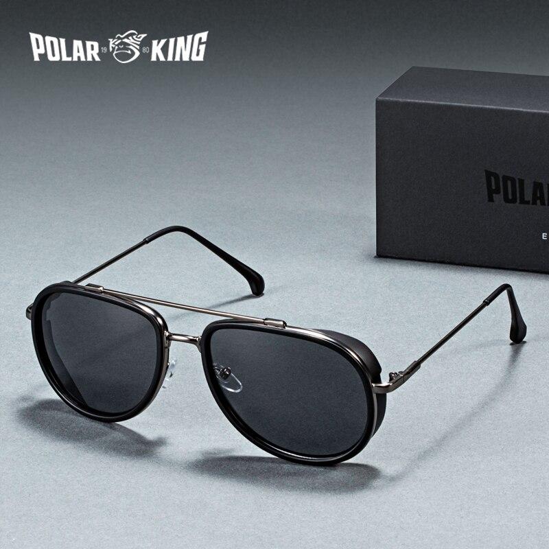 Polarking marca vapor punk polarizado masculino óculos de sol gafas de sol moda condução metal óculos de sol óculos de pesca viagem