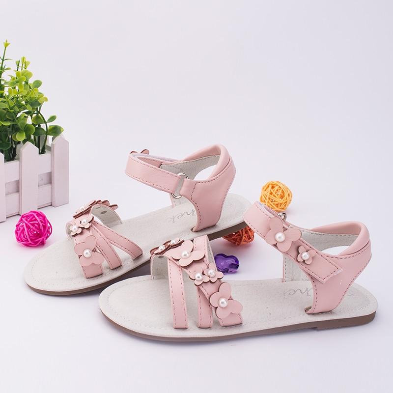 SKHEK Girls Sandals Summer Fashion Flowers Girls Flat Shoes Princess Sandals children 39 s Girls Shoes in Sandals from Mother amp Kids
