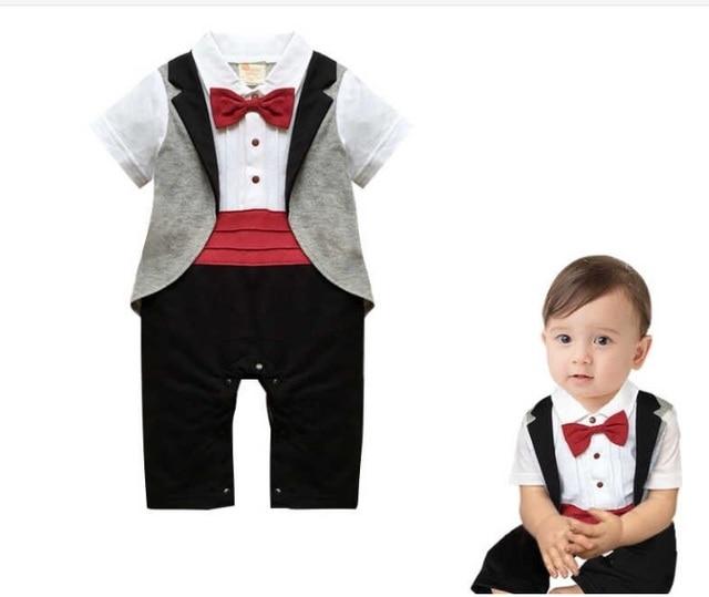 a5d7e7f16930 4Pcs lot) Newborn Boys Clothes With Jacket Cotton Prince Costume Bow ...
