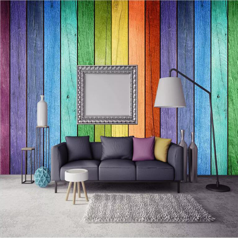 Custom 3d Photo Wallpaper Wall Murals Modern Living Room Decor TV Background Wall Papers Wood Grain Home Wallpaper Rainbow Color