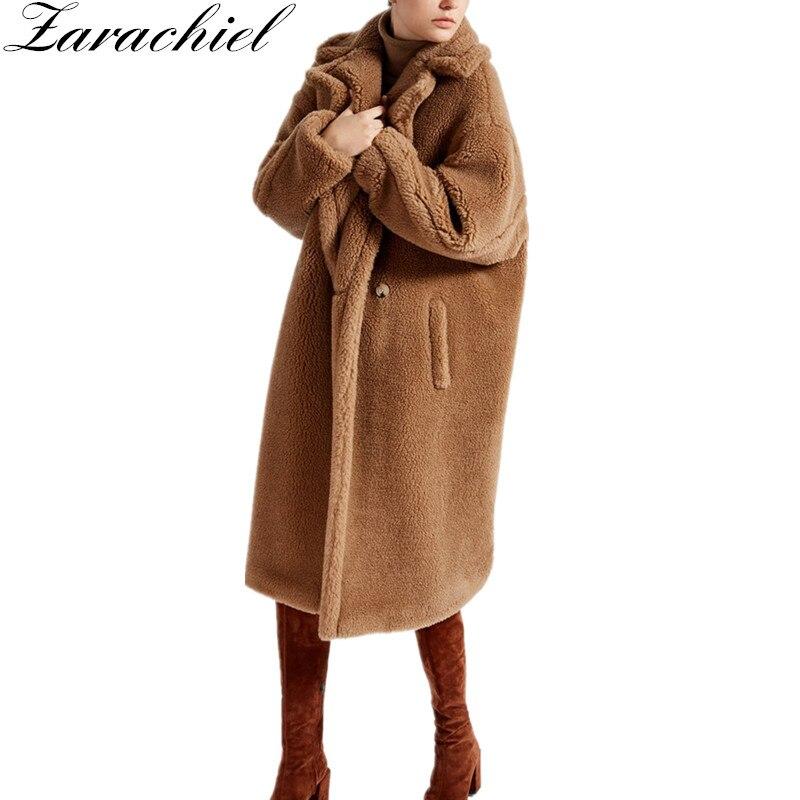 Women Fashion Cocoon Shape Long Sleeve Lambs Woolen Winter Coat Faux Fur Thickening Warm Long Jacket