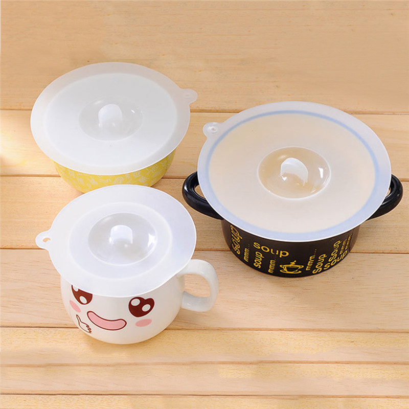 Safe FDA Grade Silicone White Cup Cover Bowl Lid Heat-resistant S M L Prevent Dust And Flies Universal