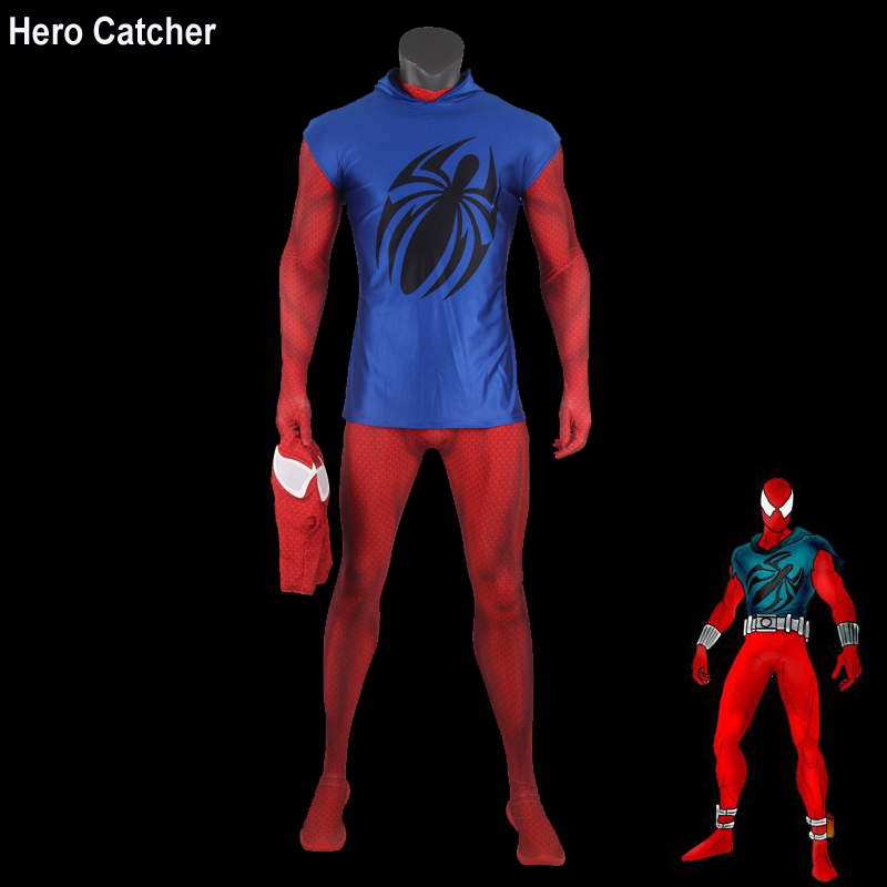 Hero Catcher Top Quality Scarlet Spiderman Cosplay Costume Muscle Shade Scalet Spider Man Costume Fullbody Zentai Suit