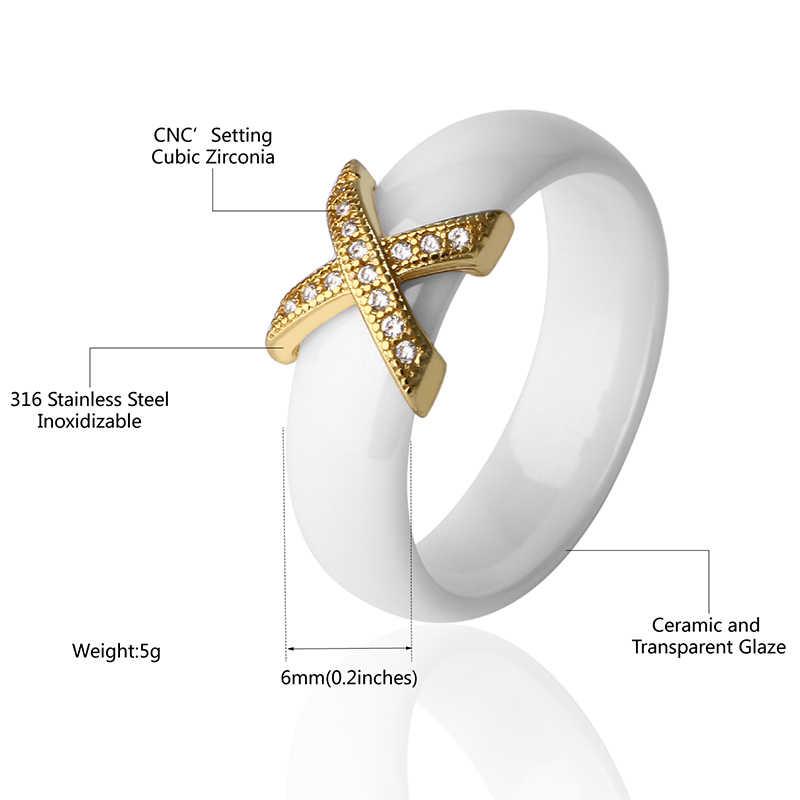ทองRose G OldตัวอักษรXสีขาวแหวนเซรามิกสีดำสแตนเลสคริสตัลสำหรับผู้หญิงผู้ชายเครื่องประดับคู่ขนาด6/7/8/9/10/11/12