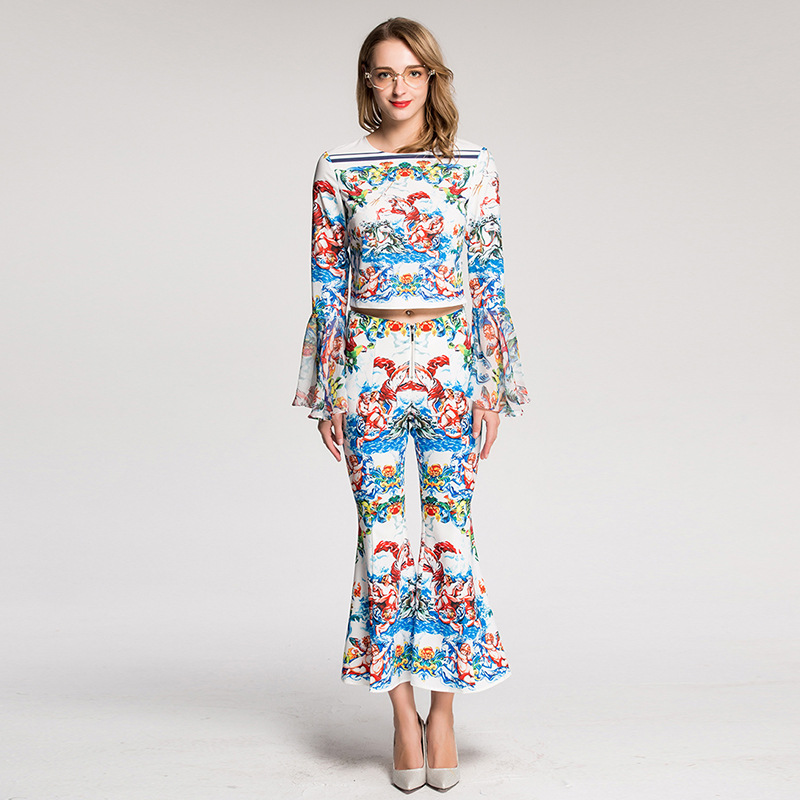 New 2018 Designer Runway Suit High Quality Women Long Flare Sleeve Vintage Printed Tops+Long Bell Bottoms Pants Set Free Express