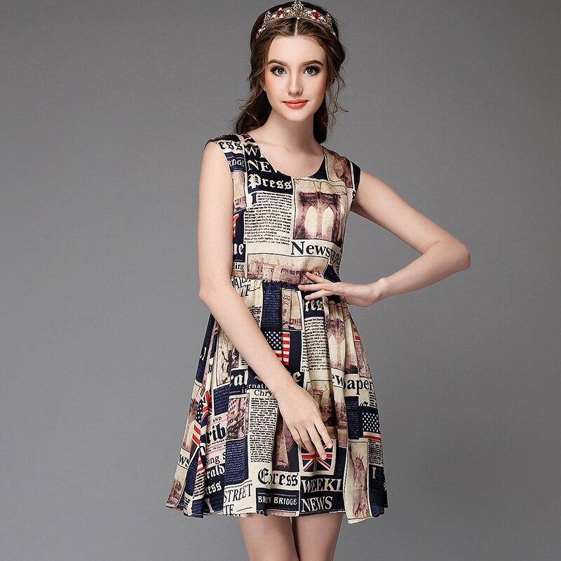 Printed Sleeveless Summer Dress Women High Waist Fit Flare Mini