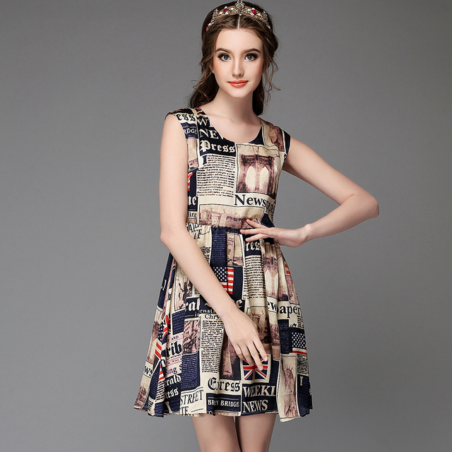 d2bfab1a4ad Printed Sleeveless Summer Dress Women High Waist Fit Flare Mini Dresses  Sale Plus Size 4xl