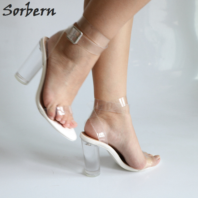 Sorbern See Through Pvc Ankle Strap Women Sandals Clear Round Heels Sandals Summer Shoes White Heels Multi Colors Chunky Heel