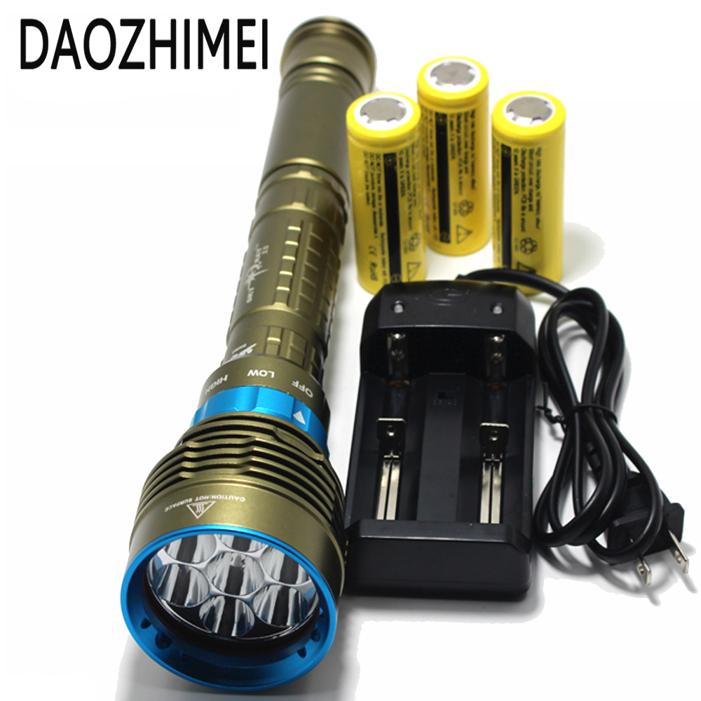 70W 14000Lm 7xXM-L2 LED Diving Flashlight 100M Diver Flash Light Waterproof Torch Lanterna+3x26650 Battery+Charger Lamps 5x xml l2 12000lm led waterproof diving flashlight magswitch diving torch lantern led flash light 2x18650 battery charger